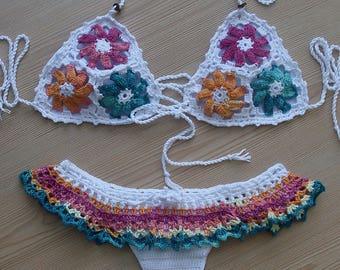 Crochet  Bikini,  Floral Design Women Bikini, Women Swimwear,  2018 Summer Trends, Beach Wear /// FORMALHOUSE