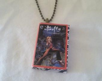 Mini Buffy the Vampire Slayer Comic Book Pendant - Mini Comic Book Pendant  - Mini Comic Book Pendant - Buffy Comic Book Ornament-Mini Comic