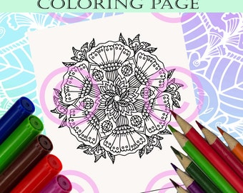 Mandala Doodle Flowers Abstract Zendoodle Tangle Flower and Ladybug  Coloring page for Adult coloring