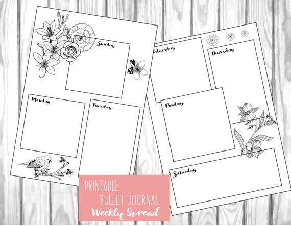 Slobbery image with bullet journal weekly spread printable