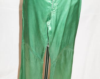 Vintage Green Flare Satin Trousers 1970s - UK Size 8-10