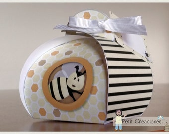 "PRINTABLE Curvy keepsake gift BOX ""Bee sweet"" DIY, treat box, place holder, gift idea for party"