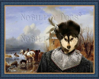 Siberian Husky Art Print Vintage Dog Painting Husky Custom Dog Portrait Husky Dog Art Deco Siberian Husky Lover Gift Husky