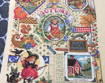 Fall Decor Counted Cross Stitch Sampler
