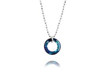 SWAROVSKI Crystal / Mini Cosmic Ring / Round Pendant /Circle Pendant / Sterling Silver Necklace / Pendant / Blue