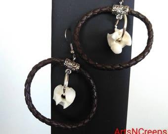 Hanging earrings real snake vertebrae bone earrings