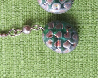 Green, pink, and silver bead earring drops