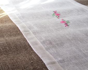 White Linen Embroidered Table Runner, Handmade Linen Table Cloth, Wedding Decor, 100% Pure Burlap Linen, Mitered Corners