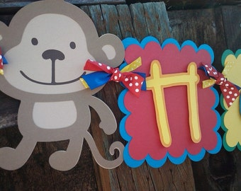 Monkey Happy Birthday, Name OR Baby Shower Banner in Primary Colors OR Pick Your Own Colors
