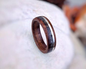 Fossilized Shark Tooth, Sterling Silver & Rosewood Bent Wood Ring - Made to order - All US and UK Ring Sizes