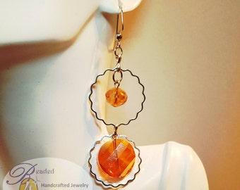 Sparkling Tangerine Orange Dangle Earrings