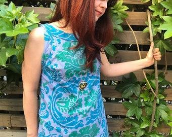 Vintage 60s sleveless sundress tiki botanical blue green dress