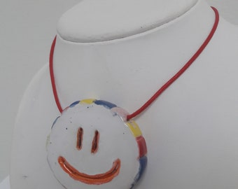 Smily face ceramic necklace