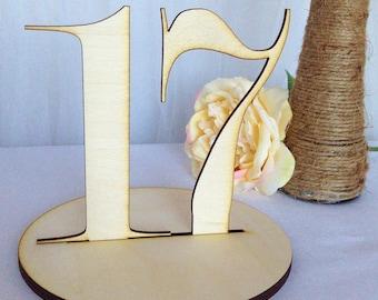1-21 Laser Cut Elegant Wood Table Numbers