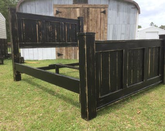 Wood bed frame-bedroom furniture-reclaimed wood bed-wood bed-cabin-rustic-bed frame-bedroom-bed-queen-king-furniture-black bed