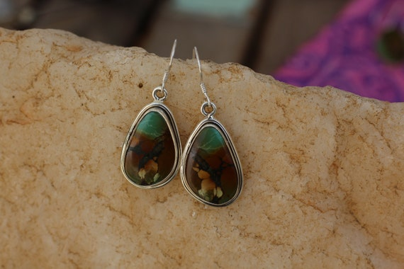 RARE TURQUOISE EARRINGS - Natural Turquoise - 925 Sterling Silver Earrings - Gemstone - Vintage style - Green turquoise - Bohemian