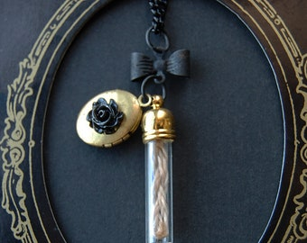 Hair Capsule Floral Locket  - Victorian Mourning Necklace