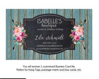 Teal Wood Business Card, Custom PreMade Business Cards - The Isabelle 2 - Watercolor Boutique Business Cards, Arrow Business Cards, Hand Tag
