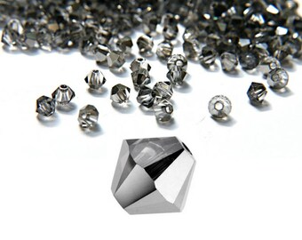 4mm Crystal Silver Night Swarovski Bicone 72/144/432/1000 Pieces MADE IN AUSTRIA