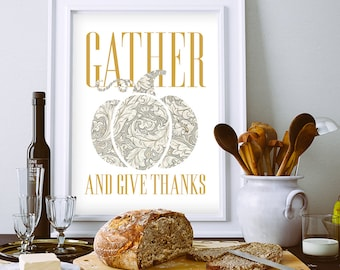 Gather and Give Thanks, dining room wall art, Thanksgiving decor, Fall decor, pumpkin print, modern Thanksgiving, grey decor, foyer wall art