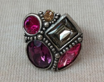 Crystal Stone Cluster Ring sz 7