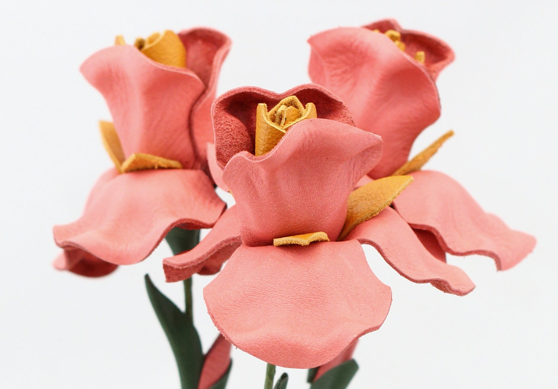 3 pink leather flower iris Wedding Third Anniversary Gift Long