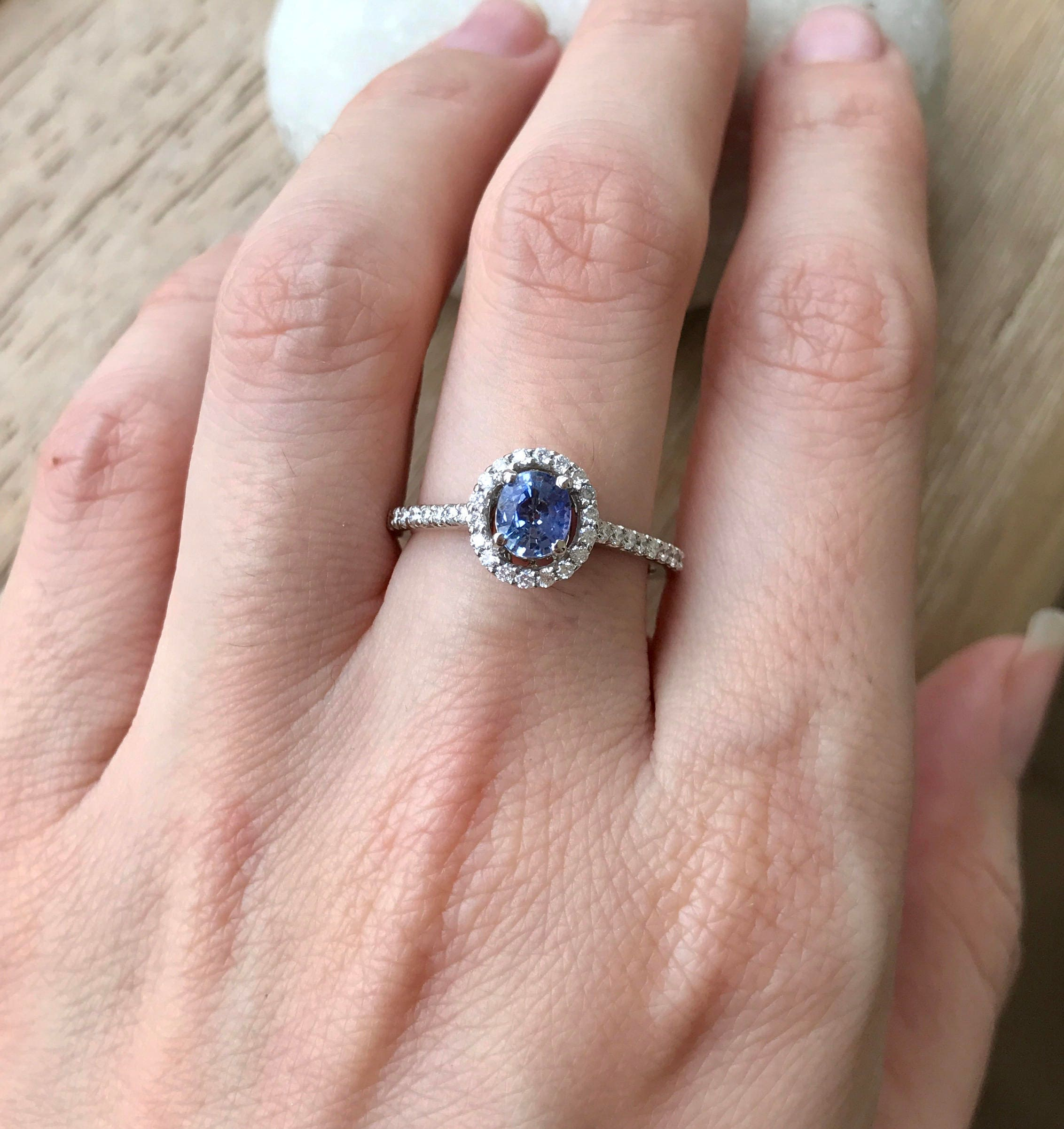 Blue Sapphire Engagement Ring- Genuine Oval Sapphire Promise Ring ...
