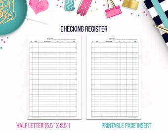 Half Letter: Checking Register • Budget Binder Printable Page Insert for 1/2 Letter & Junior sized Discbound / Ringbound Agendas or Planners