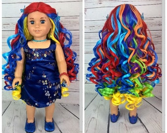 "Custom 10-11"" Doll Wig Fits Most 18"" Dolls Stunning ""Twisted Rainbow"" - Heat Safe"