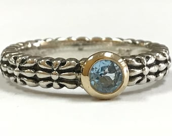 Beautiful TC Town & Country Blue Topaz 14K Gold and Sterling Silver Filigree Ring