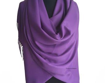 Purple Pashmina Purple Scarf Shawl Purple Wrap Purple Bridesmaids Gift Purple Wedding Shawl Bridesmaid