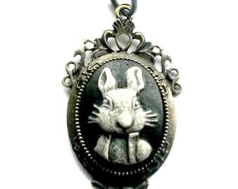 Rabbit Cameo Necklace Alice in Wonderland handcrafted