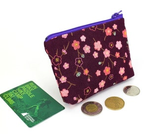 floral purse, coin wallet, zippered coin purse, purse travel, purse bag, zipper coin pouch, Cherry Blossoms Purple