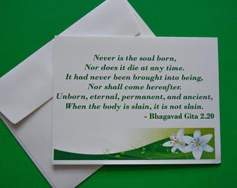 Bhagavad Gita Scripture Sympathy/Condolences/Mourning/Grief Card - Hindu Condolences Card - South Asian/Hindu Sympathy Card
