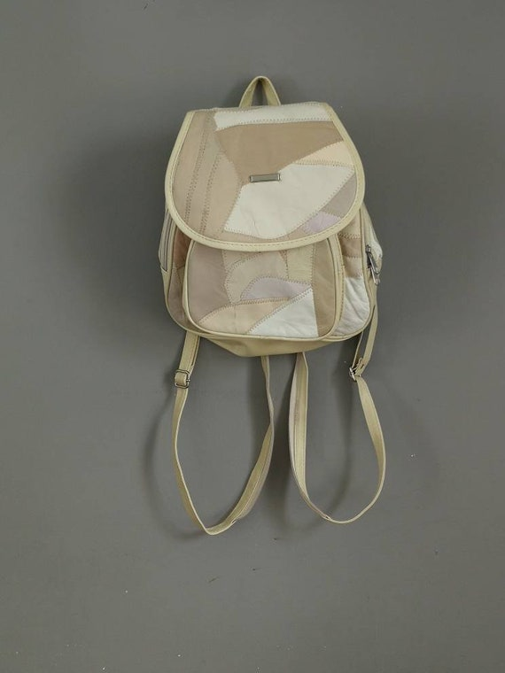 Vintage cream backpack / 90s patchwork leather backpack / 90s grunge backpack handbag / cream leather back bag / grunge rucksack / vintage