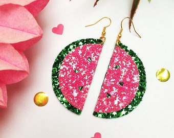 Watermelon slice dangly earrings, glitter statement earrings, tropical fruit earrings, watermelon jewellery, fruit jewellery, dangly earring