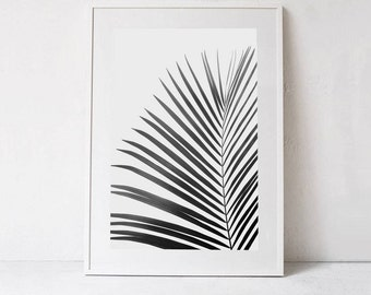 Palm Leaf Print Palm PRINTABLE ART, Black and White Print DOWNLOAD Digital Print, Large Wall Art Photography, Black and White Minimalist Art