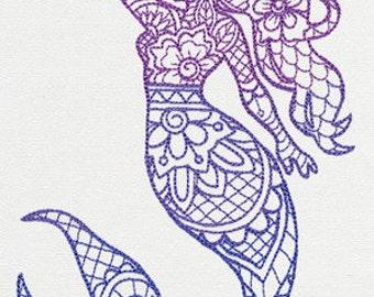 Mendhika Mermaid Embroidered Flour Sack Hand/Dish Towel
