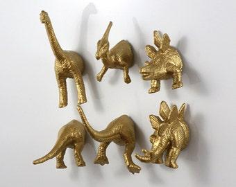 Dinosaur magnets // dino fridge magnets // gold dinosaur set // cool  refrigerator magnets