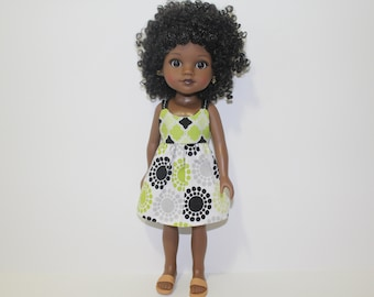 Lime green, black, gray, and white geometric print sundress for 14 inch dolls such as Wellie Wishers and Hearts for Hearts