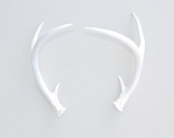 Faux Deer Antlers - Faux Taxidermy White Antler Decor - White Resin Unique Deer Antlers - Table Top Fake White Antler Shed DA01