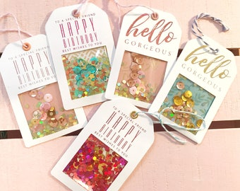 Handmade Gift Tags - Small Shaker Tags with Real Foil & Glitter - 5 Celebration Tags | Gift Wrapping