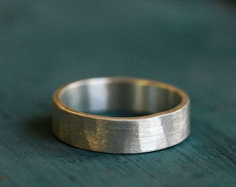 Engagement Band Ring - Mens Engagement Ring - Ring for him  - 6mm wide - Wide Silver Band Ring - Hammered - Comfort Fit - Personalized  4056