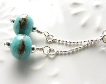 Sterling Silver Long Dangle Earrings with Turquoise and Silver Glass Beads Blue Green Southwestern Style Modern Sleek Swingy Under 30