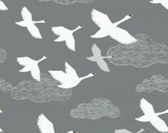 Swans in Flight on grey, Down By the River, Lewis and Irene, quilting cotton, fabric by the yard, nursery prints, animal fabric, spring