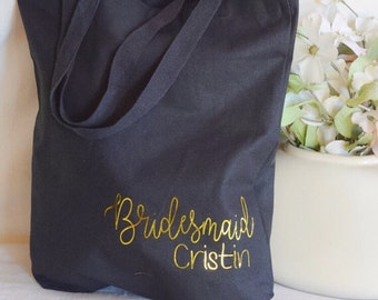 Bridesmaid tote bag - personalized tote - bridesmaid gift - canvas bag - custom bridesmaid tote bag - bridal party gift - reuseable bag