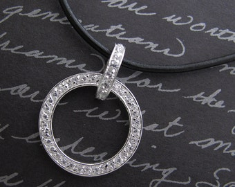 Eternity ring - 925 sterling silver circle cz and leather necklace