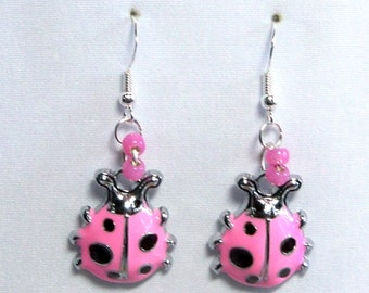 Ladybug pink enameled 3D earrings one sided on silver pink pearl glass accent on 925 Sterling Silver wires E122