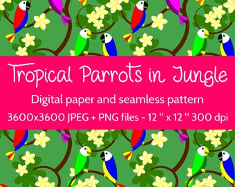 Tropical Parrots in Jungle Digital Paper, Tropical Seamless Pattern, Jungle Background, Tropical Texture, Hawaii Digital Paper, Plumeria JPG