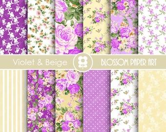 Floral Digital Paper, Violet Floral Digital Paper Pack, Violet Roses, Wedding, Scrapbooking, Roses - INSTANT DOWNLOAD  - 1935